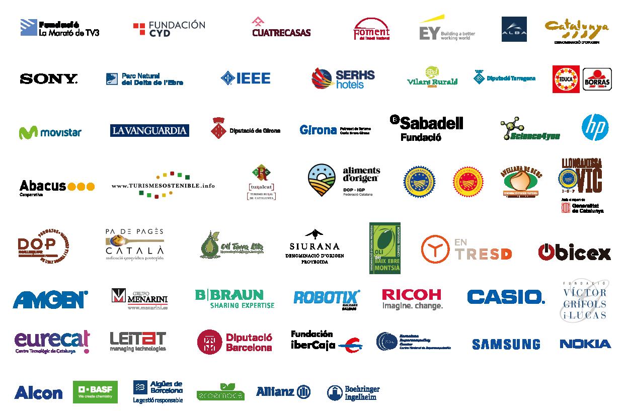 conjunt de logotips d'empreses i universitats col·laboradores